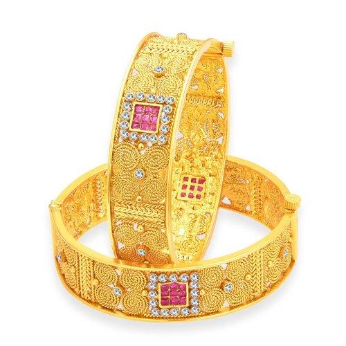Jalebi Gold Plated AD Stones Bangles