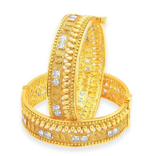 Designer Jalebi Gold Plated American Diamond Bangle