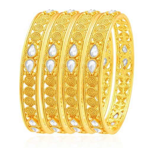 Jalebi Gold Plated Kundan Bangles Set