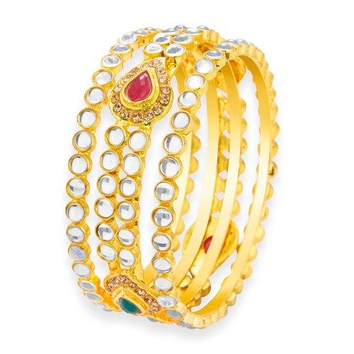 Gold Plated Kundan Bangles Set