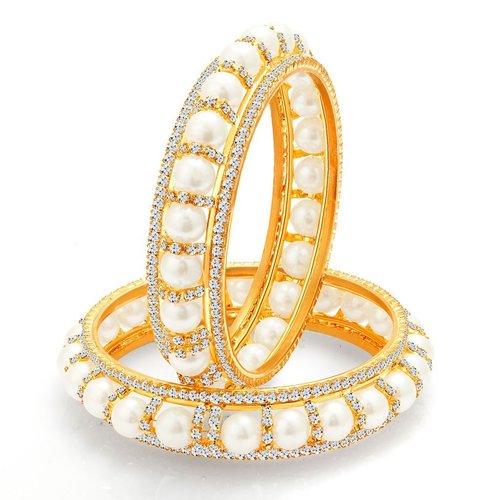 Designer Gold Plated Pearl Crystal AD Bangles