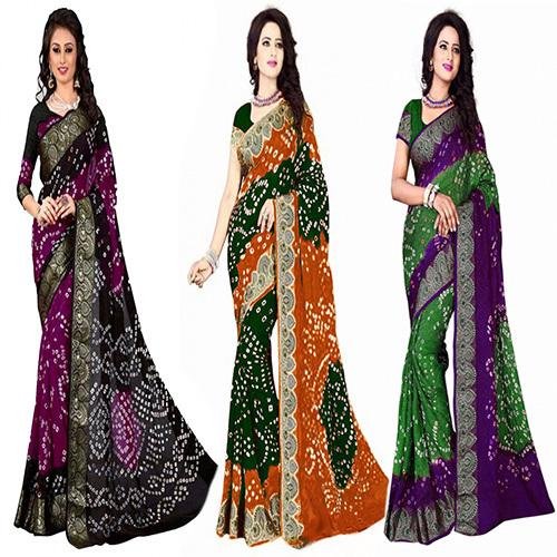 Jacquard Silk HandmadeBandhani / Bandhej Saree