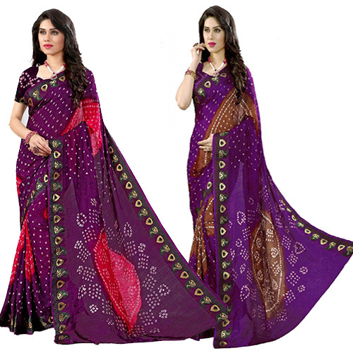 Fancy Bandhani Resam Embrodary Border Saree