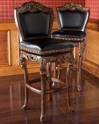 Hand carved leather bar stool