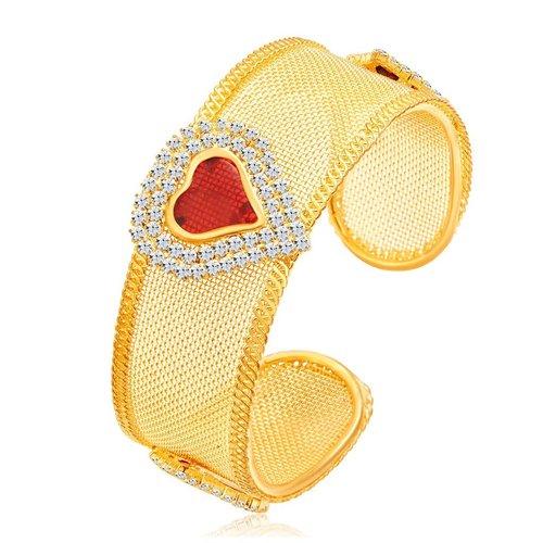 Sparkling Heart Shape Gold Plated AD Kada