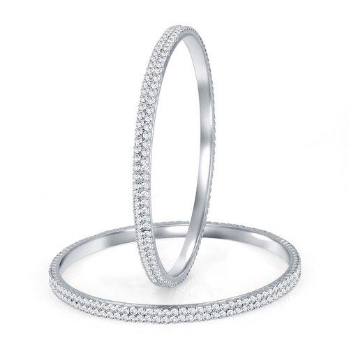 Rhodium Plated Australian Diamond Two Line Bangles