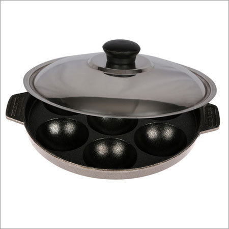 Elite Non Stick Appam Paatra with SS Lid - 7Pit(Side Handle)