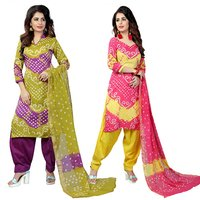Light Mehendi Cotton Dress Material