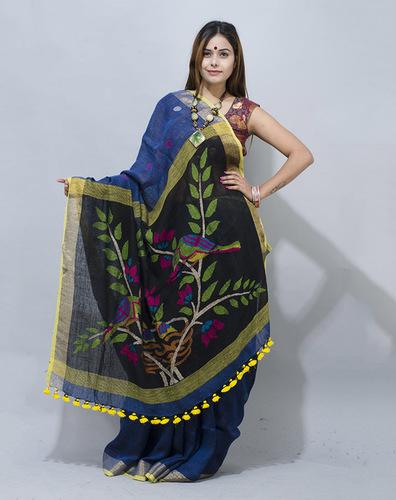 Handloom Linen Jamdani Saree