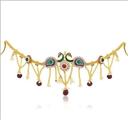 Golden Finish Studded Multi-Colour Stone Traditional Kamarband