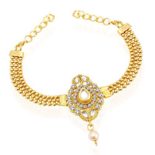 Graceful Adjustable Gold Plated AD Bajuband