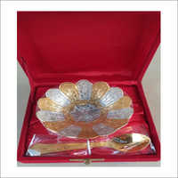 Gold Plates Dry Fruits Bowl With Spoon Mix Finish