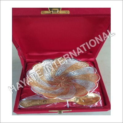Gold Copper Plated Dry Fruits Bowl With Spoon Mix Finish