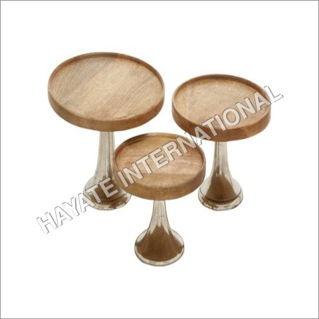 Cake Stand With Wooden Top Set Of 3