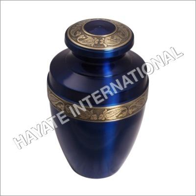 U-025_blue Color Brass Urn