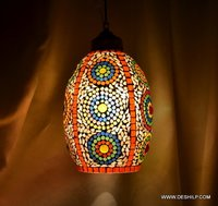 HANGING,ORNG MOSAIC HANGING,DECORATIVE RESIDENTIAL HANGING,GLASS HANGING