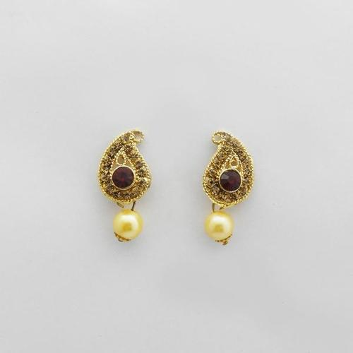 Gold plated Pearl Drop Stud Earrings for women
