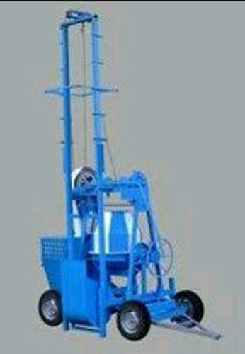 Two pole concrete mixer with lift