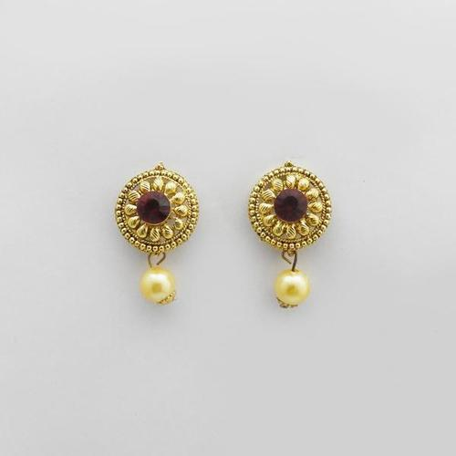 Gold plated Pearl Drop Stud Earrings for women