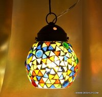 Lamp Large Vintage Mid Century Stained Glass Hanging Lamp Clear Glass Globe Pendant