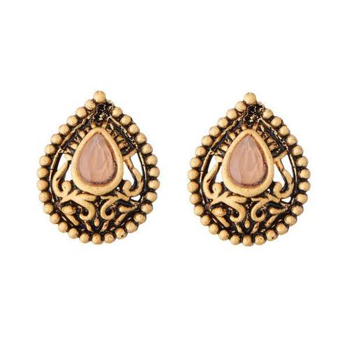 Gold Plated Crystal Made Alloy Stud Earring