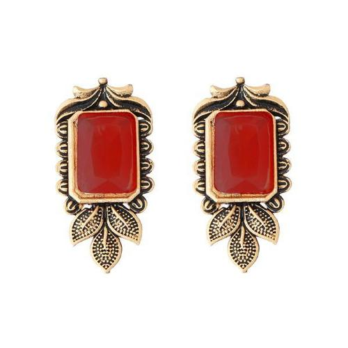 Designer Antique Gold Earrings with Red Stone in Centre Alloy Stud Earring