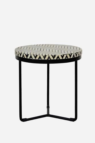Metal Base Bone Inlay Round top side stool