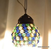 Vintage Mid-Century Modern Hanging Swag Light Lamp Beachy Green Glass Globe