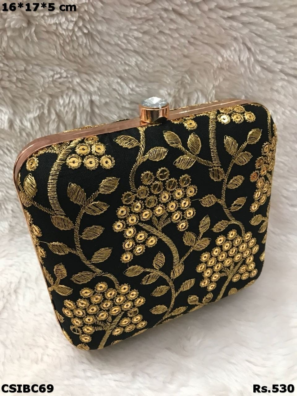 Embroidered Colourful Box Clutch