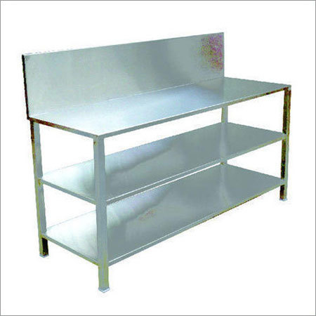 SS Work Table with Shelf