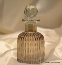 Antique perfume decanter glass hand blown and hand painted gold tone
