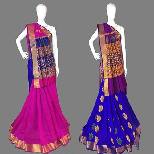 Dark Pink Handloom Designer  Silk