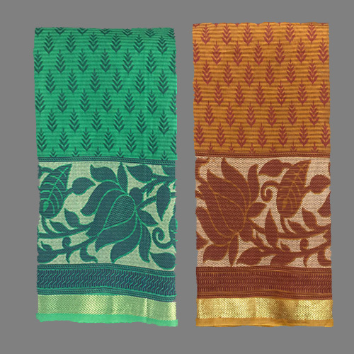 Bottle Green Cotton Saree