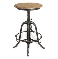 Round Seat Industrial Bar Stool With Footrest