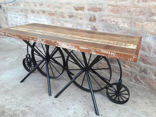 Double Wheel Base Industrial Dining Table