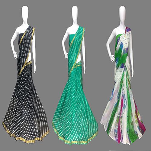 Leheriya Bandhej Designer Saree