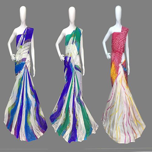 Subtle Leheriya Designer Saree