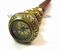 Brass Twist Handle Walking Stick with Compass