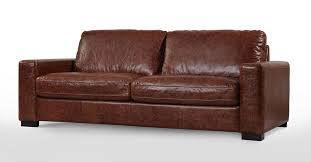 Reclined Back and Rolled Arms Leather Sofa
