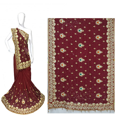Georgette wedding wear Heavy Work Saree