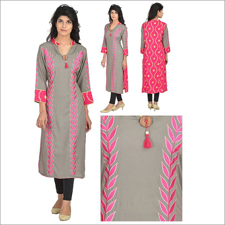 Desginer Double Color Stylish Kurta With Embroidery