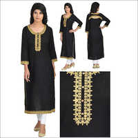 Black Stylish Straight Kurta with Embroidery