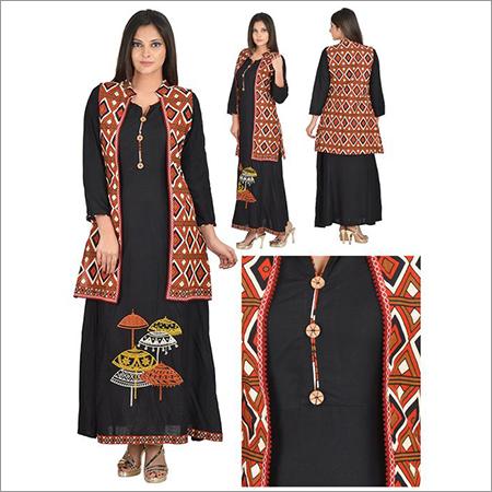 Priya's Black Designer 2 Piece Jacket Style Kurta