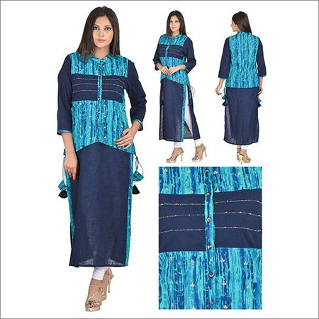 Designer 2 Pices Jacket Style Blue Kurta