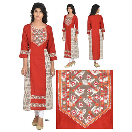 Priya's Red Cotton Dabu Print Embroidered Kurta