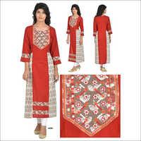 Priya's Red Cotton Dabu Print Embroidered Kurta