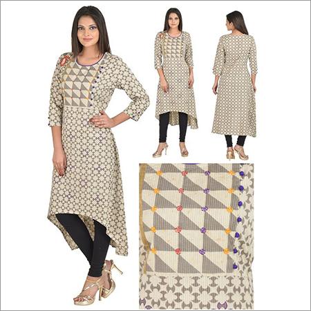 Priya's Straight Cotton Printed Designer Kurta