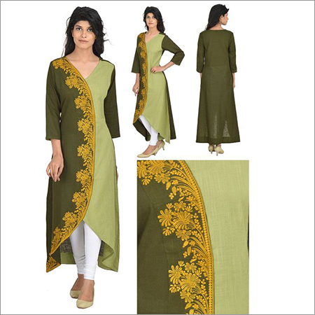 Designer V-Neck Cotton Kurti with Embroidery