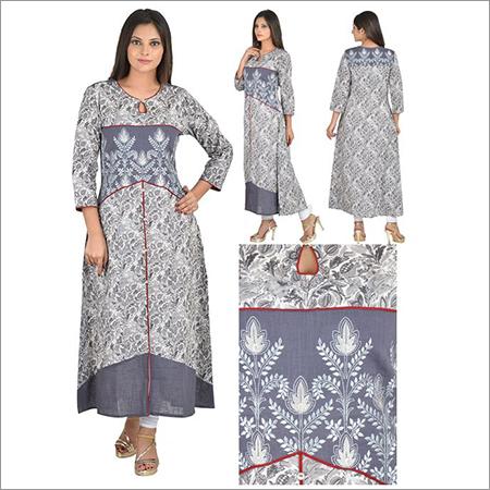 Designer A-Line Lief Print Cotton Girl's Kurti