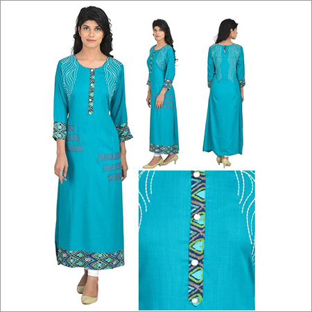 Rayon Designer Kurta with Fancy Work